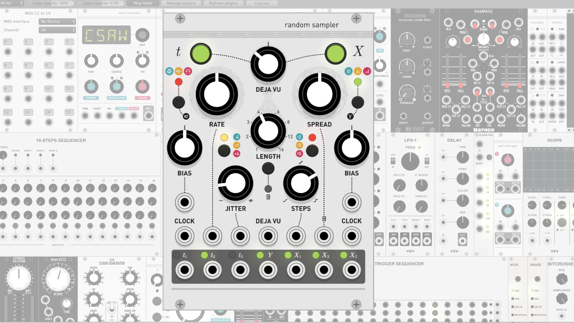 vcv rack released random sampler module aka marbles