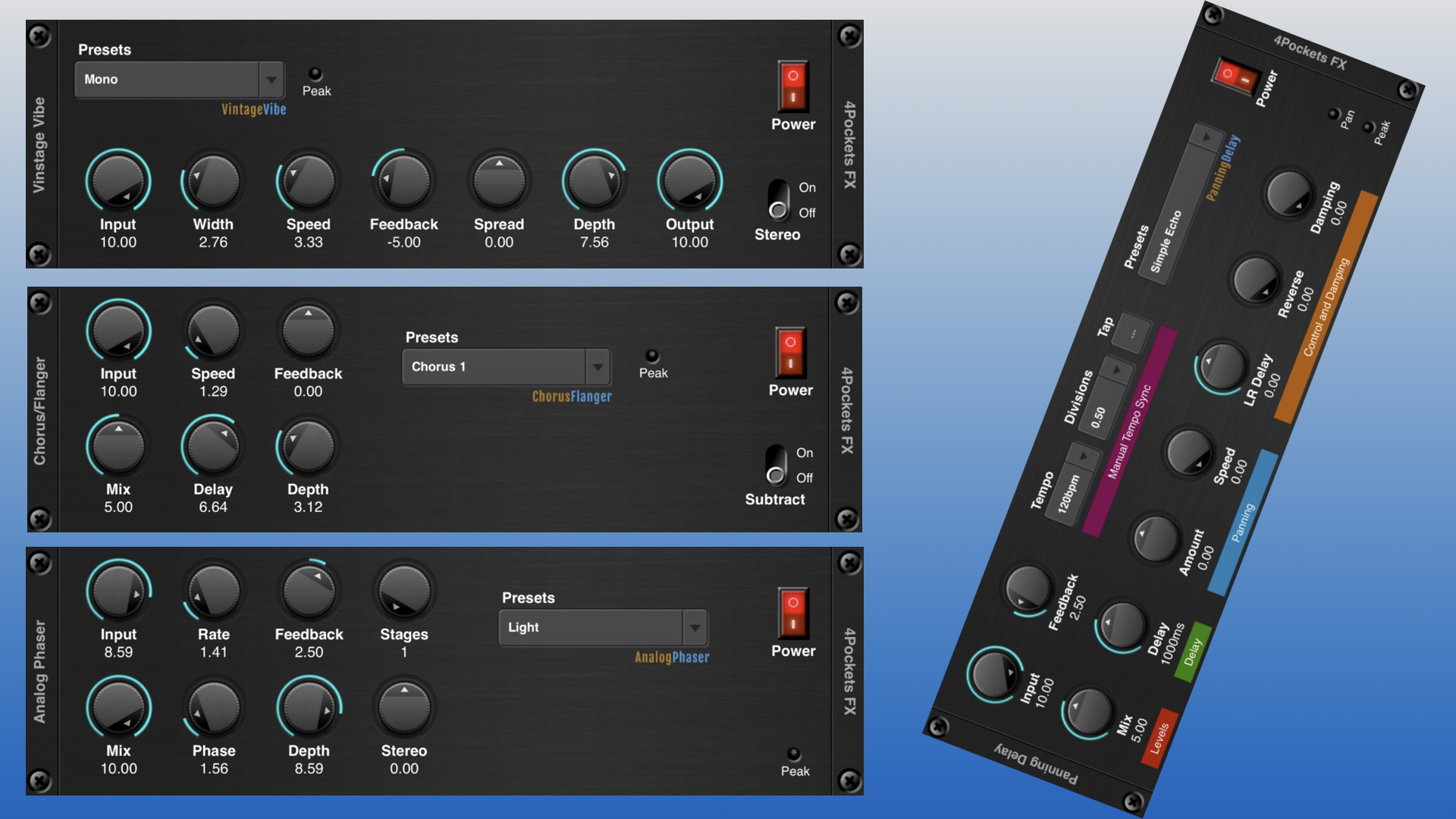 4 AUv3 Apps By 4Pockets: Flanger, Panning Delay, Phaser