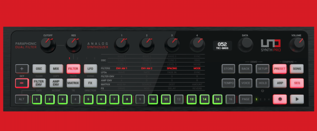 UNO Synth Pro interface