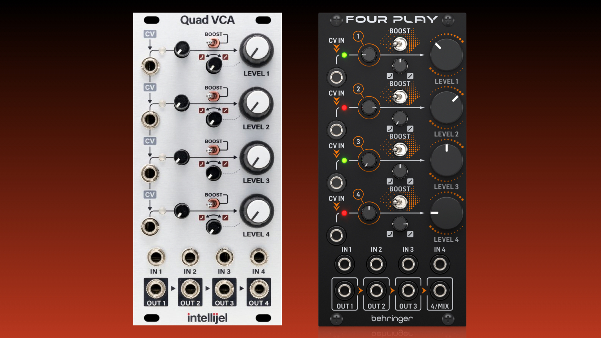 Behringer Four Play Quad Vca And Mixer Module For Eurorack
